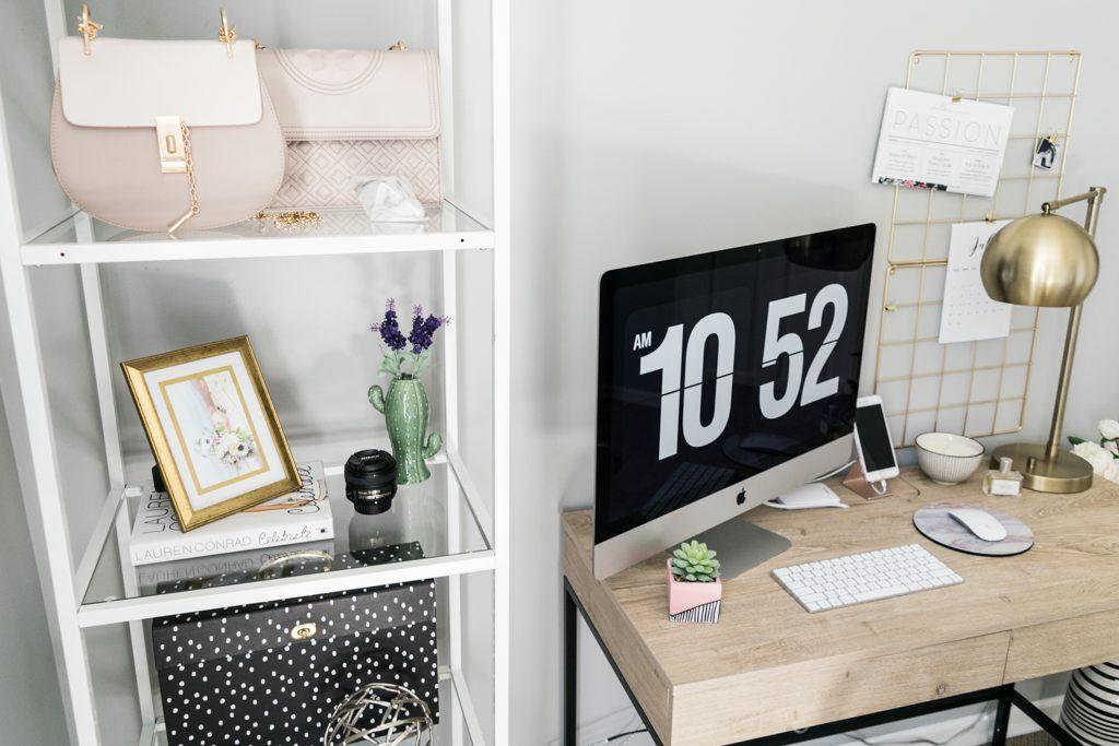 fashion shelf styling, shelf decor, home office storage, home office decor, threshold darley writing desk