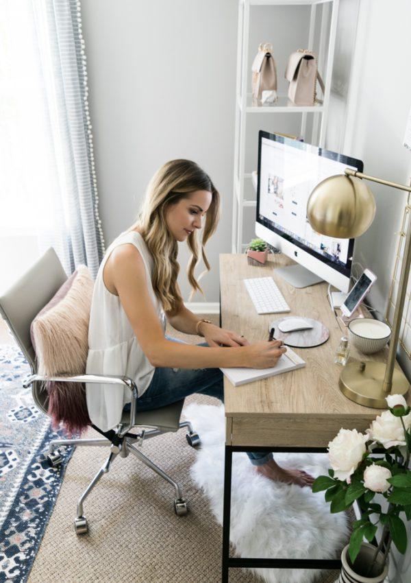 fashion office Inspo, threshold Darley writing desk, target office decor