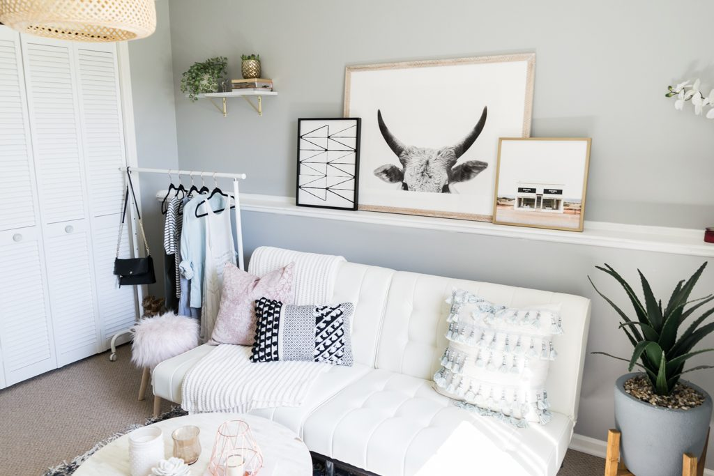 minted art gallery, faux snake plant, target throw pillows, girly office Inspo, cloffice tour