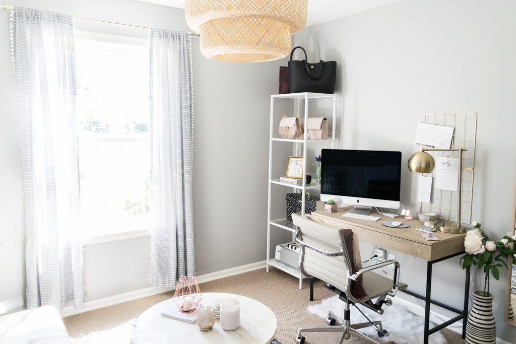 style blogger office, home office ideas for women, minimal office inspo, Ikea sinnerlig pendant lamp, bamboo ceiling light
