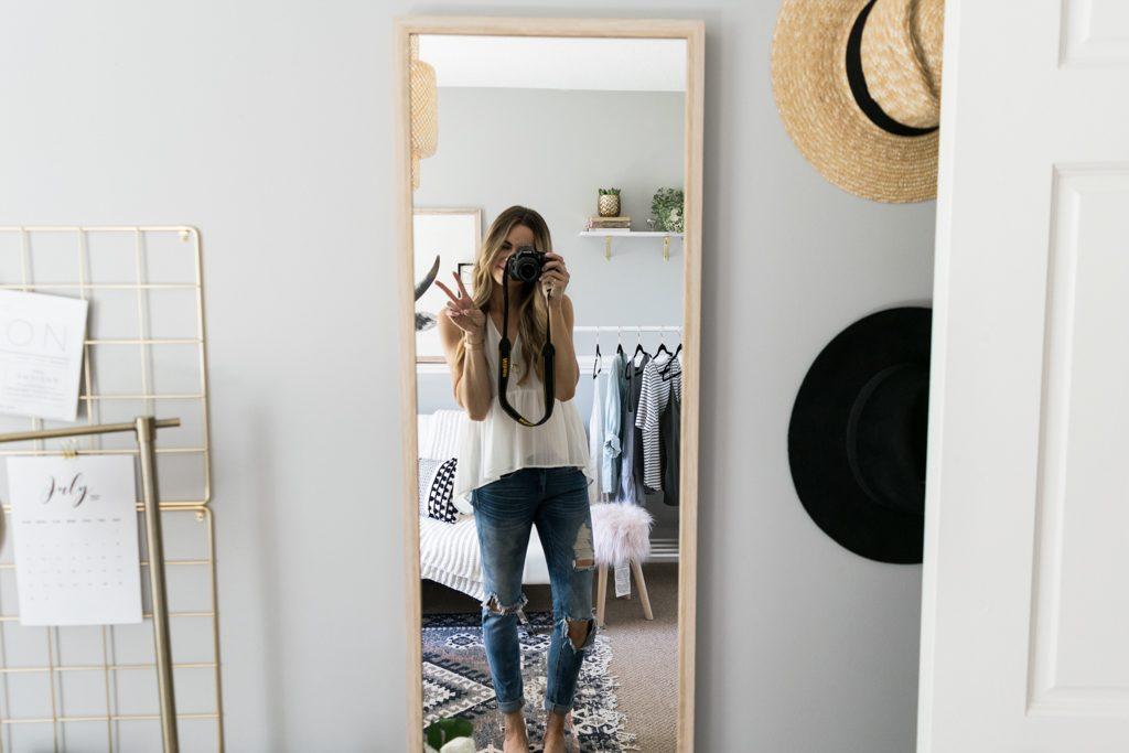 Ikea wall mirror, Ikea floor mirror, blogger office inspiration, work space inspo