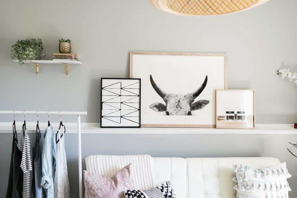 minted art gallery ideas, gallery wall idea, Jane Gallagher, visionary 2, Prada marfa, cb2 white marble floating shelf