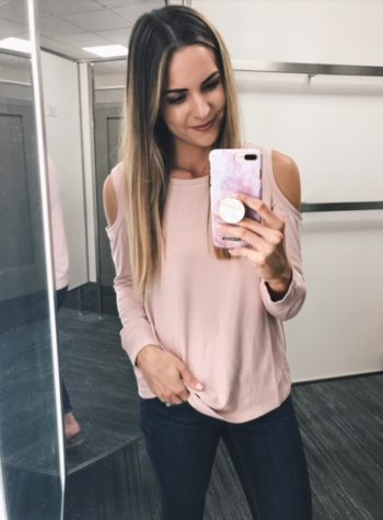 Gibson cold shoulder sweatshirt, blush sweater, Nordstrom anniversary sale under $50, try on haul 2017