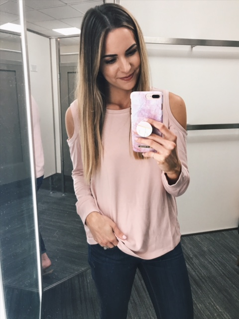 Gibson cold shoulder sweatshirt, blush sweater, Nordstrom anniversary sale under $50, try on haul 2017