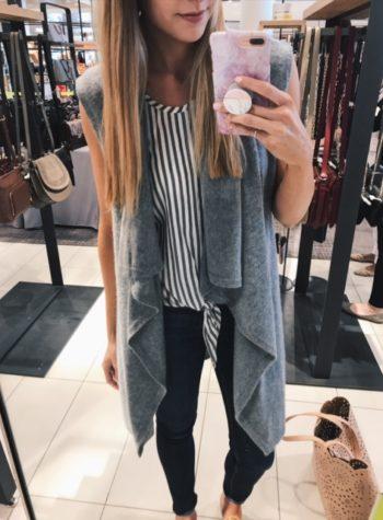 Halogen waterfall drape front cashmere vest, best cashmere vest, Nordstrom anniversary sale cashmere, gray vest outfit