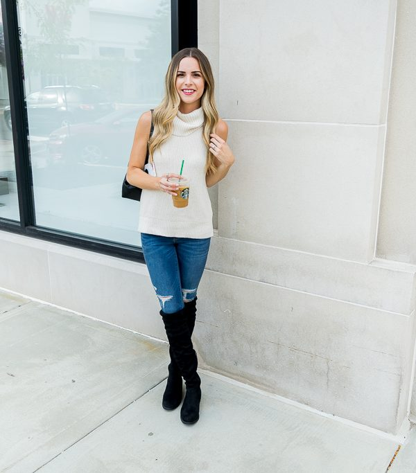 albertville Outlet mall finds, sleeveless turtleneck sweater, Minneapolis fashion blogger