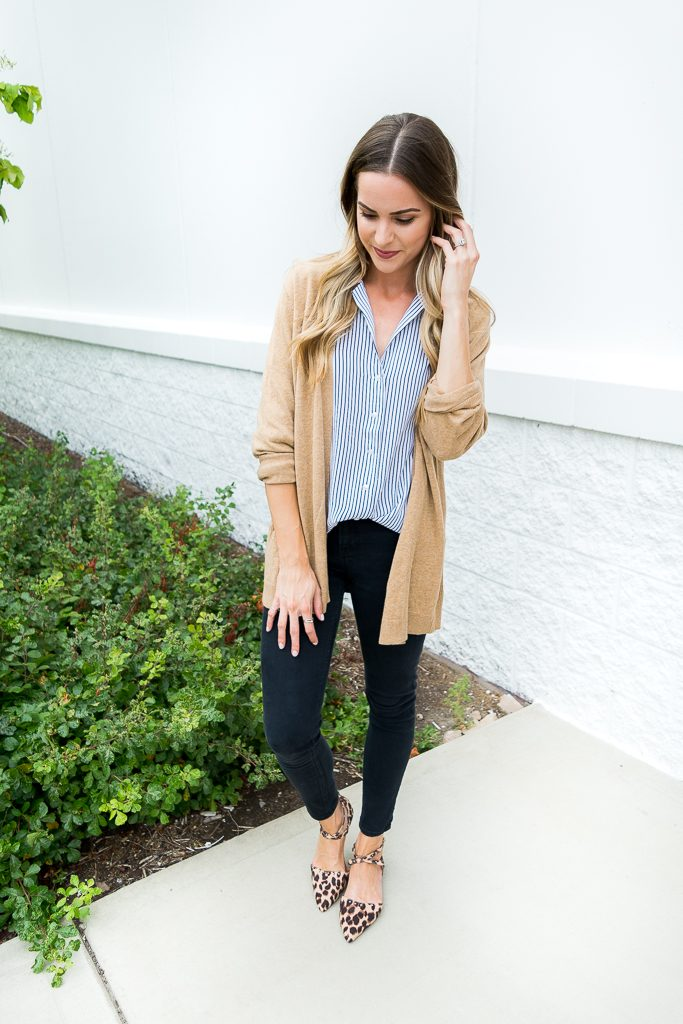 camel cardigan outfit, albertville mall outlet finds 2017, Minneapolis fashion blogger, affordable work wear