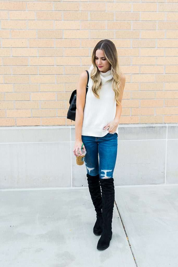 Outlet mall finds, Black over the knee boots outfit, sleeveless turtleneck sweater