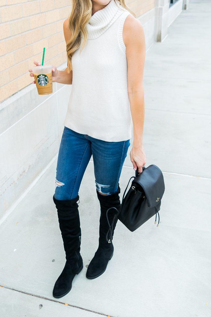 albertville Outlet mall finds, sleeveless turtleneck sweater, Minneapolis fashion blogger