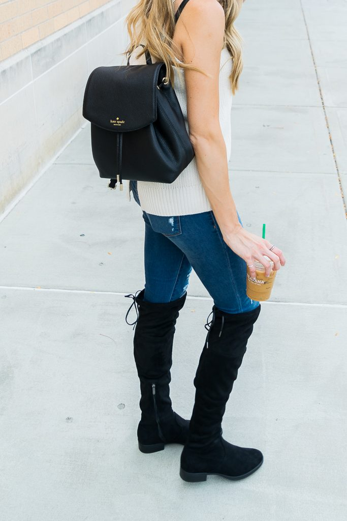Outlet mall finds, Black over the knee boots outfit, sleeveless turtleneck sweater, Kate spade backpack