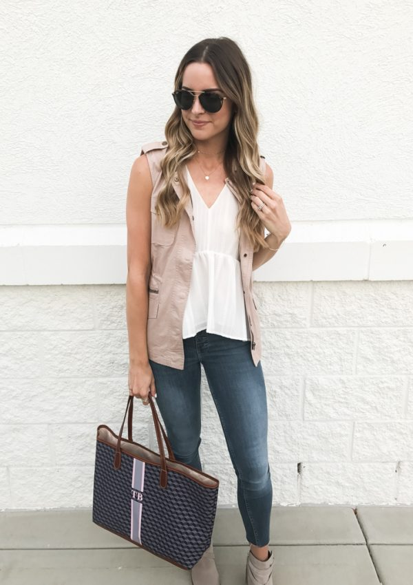 summer to fall transitional outfit, blush military vest, Minneapolis fashion blogger, Barrington gifts st. Anne tote