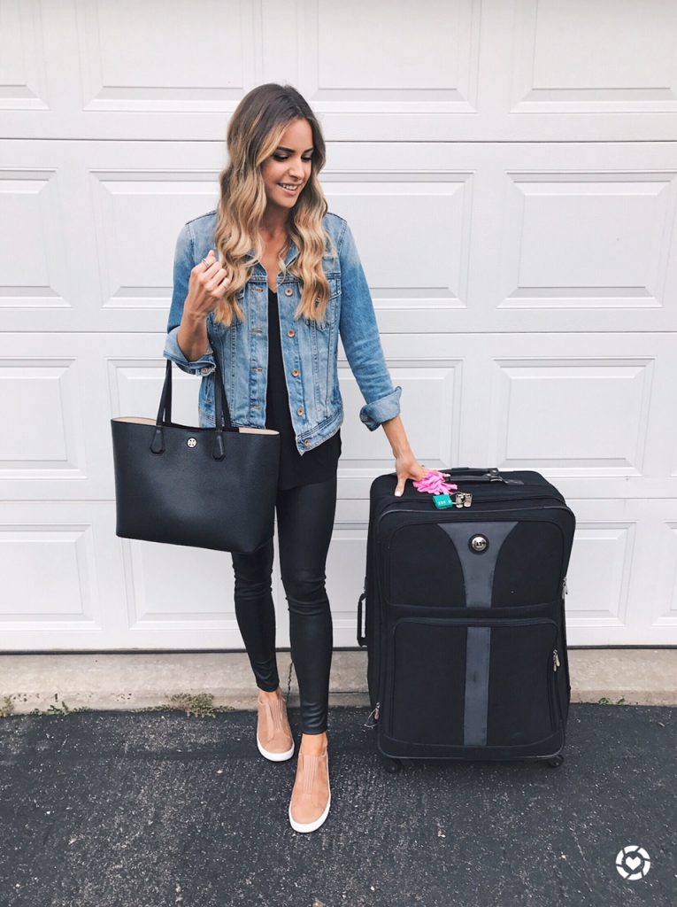 airport outfit, travel style, denim jacket outfit, leather leggings