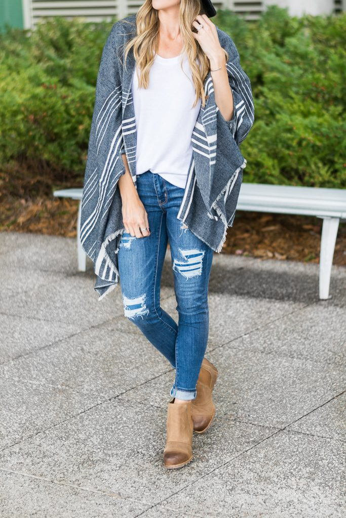 fall outfit ideas 2017, j.crew cape scarf, sorel lea wedge boots, AE distressed x jeans