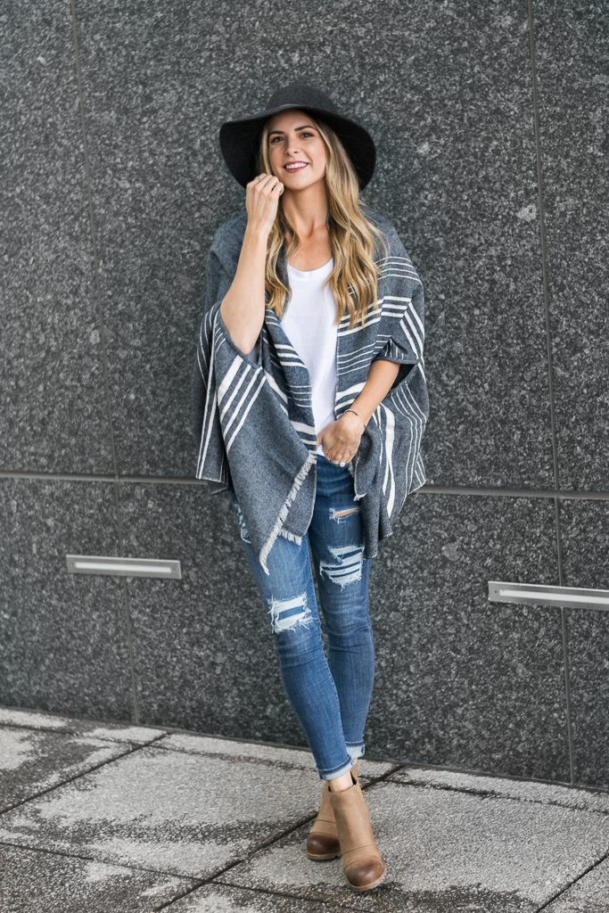 fall outfit ideas 2017, j.crew cape scarf, sorel lea wedge boots, american eagle jeans