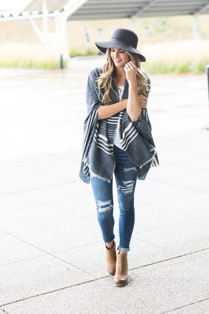 fall outfit ideas 2017, j.crew cape scarf, sorel lea wedge boots, floppy hat