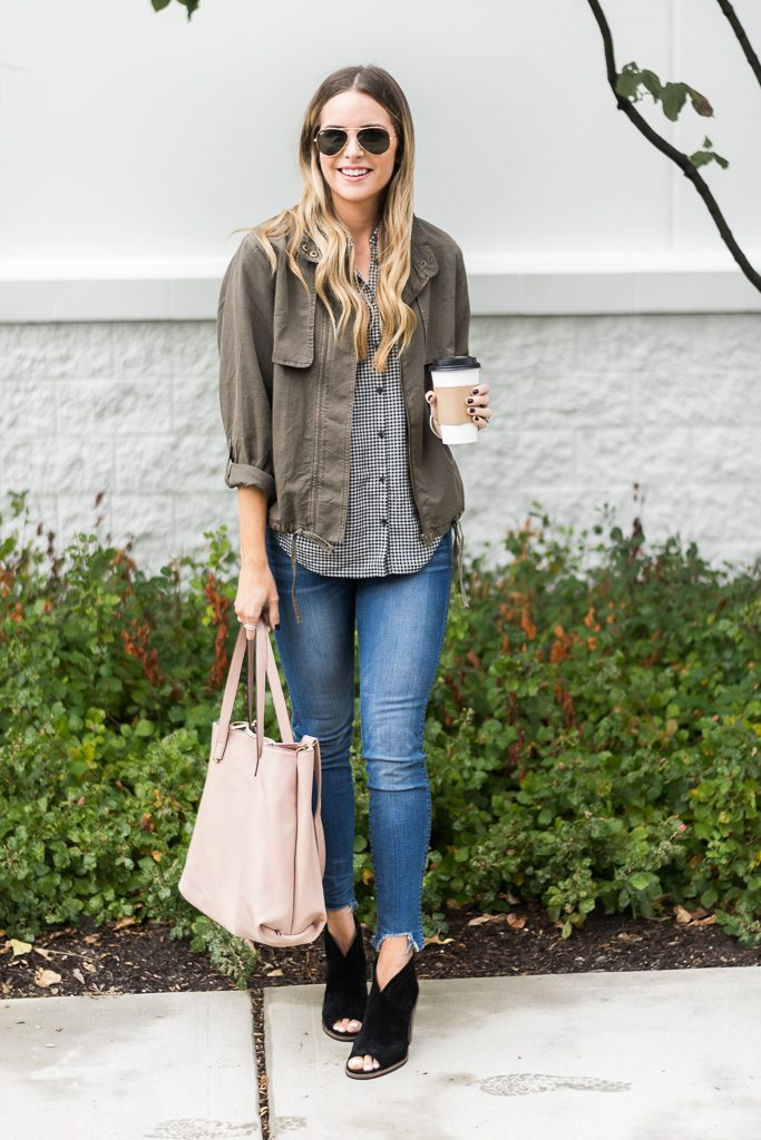 "fall outfit ideas, olive utility jacket, madewell central shirt haden plaid, 10"" tall chewed hem jeans"