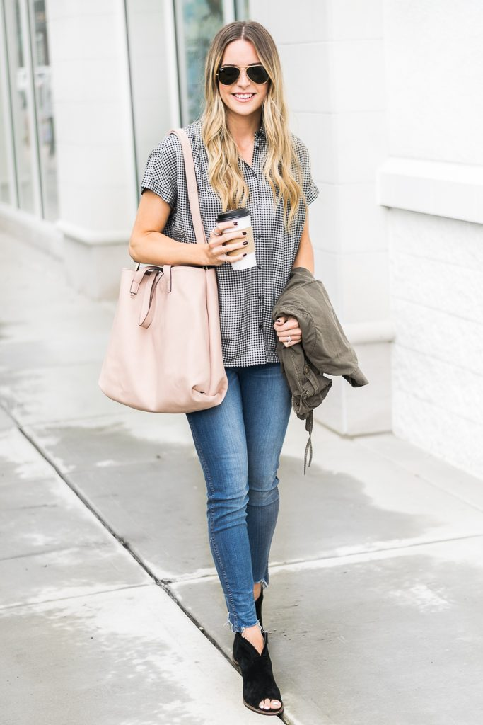 "fall outfit ideas, madewell central shirt haden plaid, 10"" tall chewed hem jeans, black vince camuto booties"