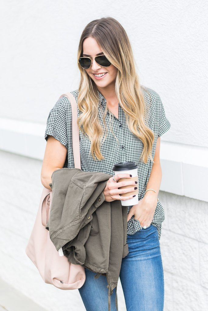 fall outfit ideas, madewell central shirt haden plaid, olive military jacket, minneapolis blogger