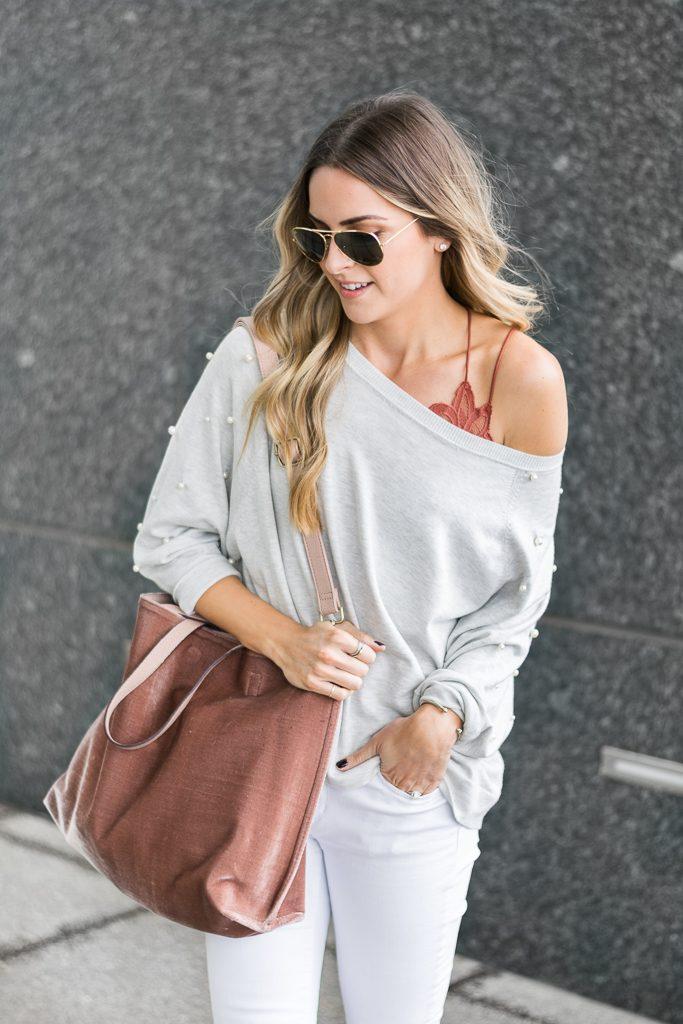 fall outfit ideas, zara pearl sweatshirt, free people velvet vegan tote, fp one adella bralette, minneapolis blogger