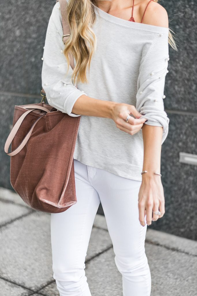 fall outfit ideas, zara pearl sweatshirt, free people velvet vegan tote, minneapolis fashion blogger