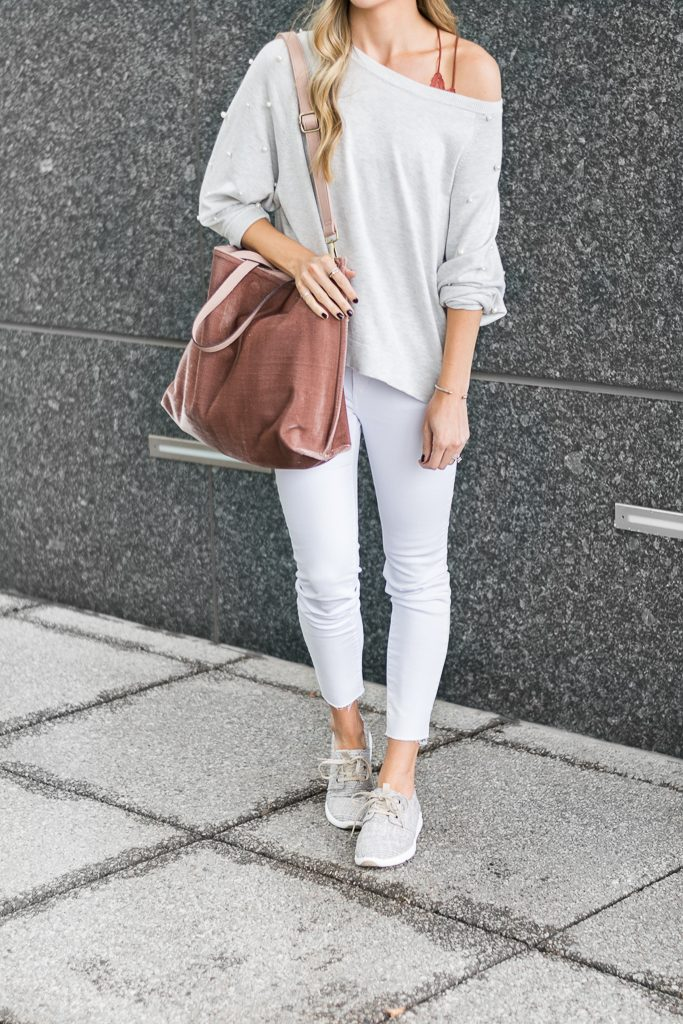 fall outfit ideas, zara pearl sweatshirt, free people velvet vegan tote, minneapolis fashion blogger, toms del rey sneakers