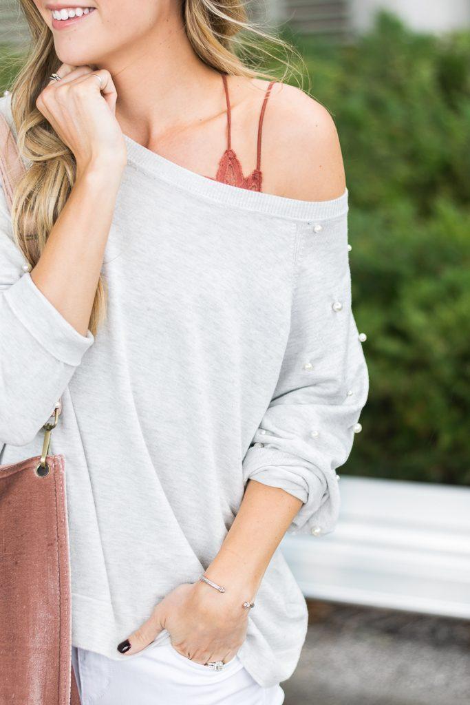fall outfit ideas, zara pearl sweatshirt, fp one adella bralette, minneapolis fashion blogger