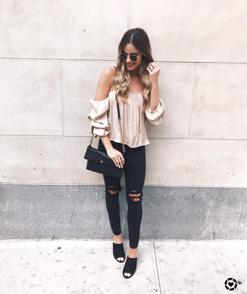 nyfw street style, nyc, satin off the shoulder top
