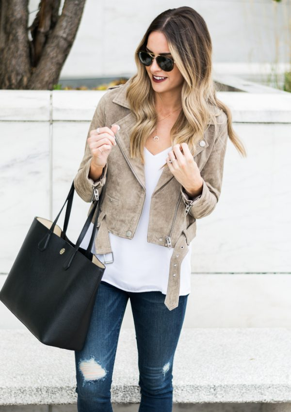 zappos, blank NYC suede moto jacket, dark distressed jeans junk drawers