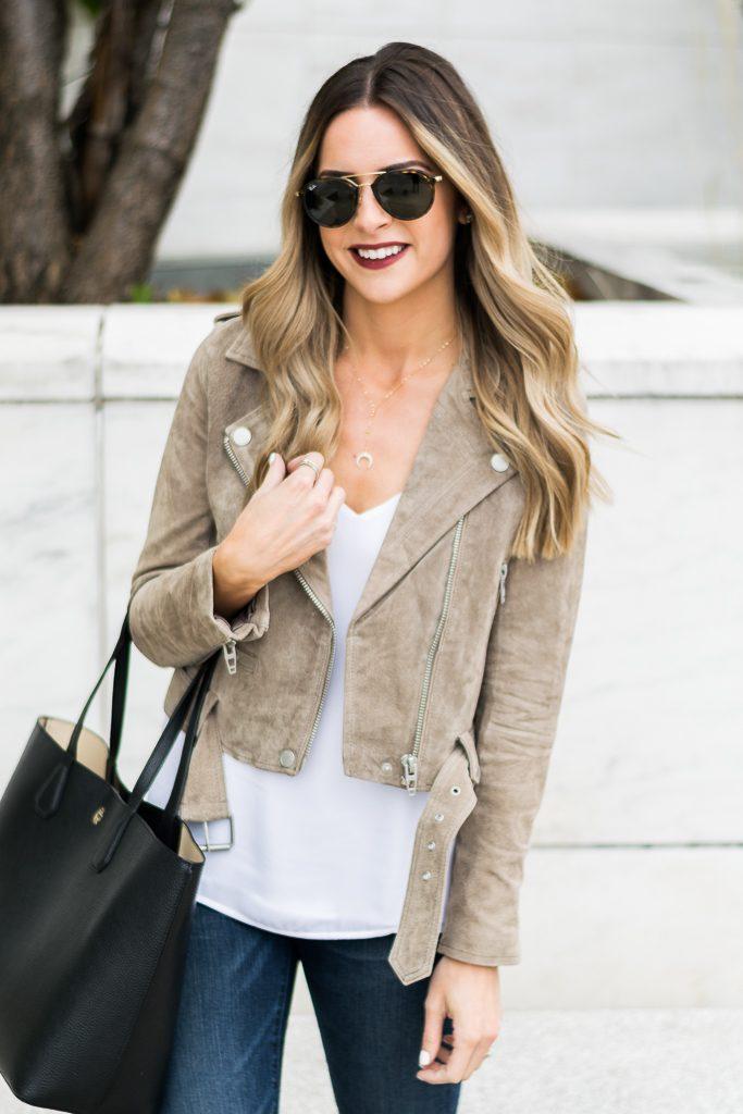 zappos, blank NYC suede moto jacket sand stoner, Minnesota fashion blogger