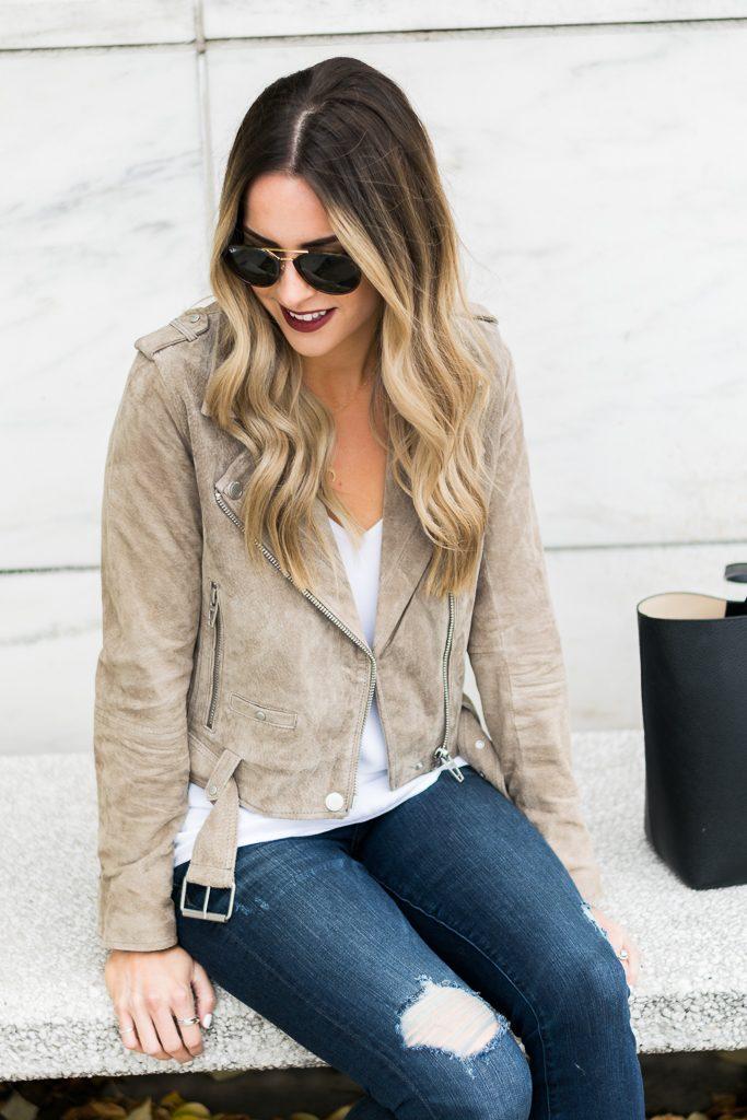 zappos blanknyc suede moto jacket sand stoner, Minneapolis fashion blogger