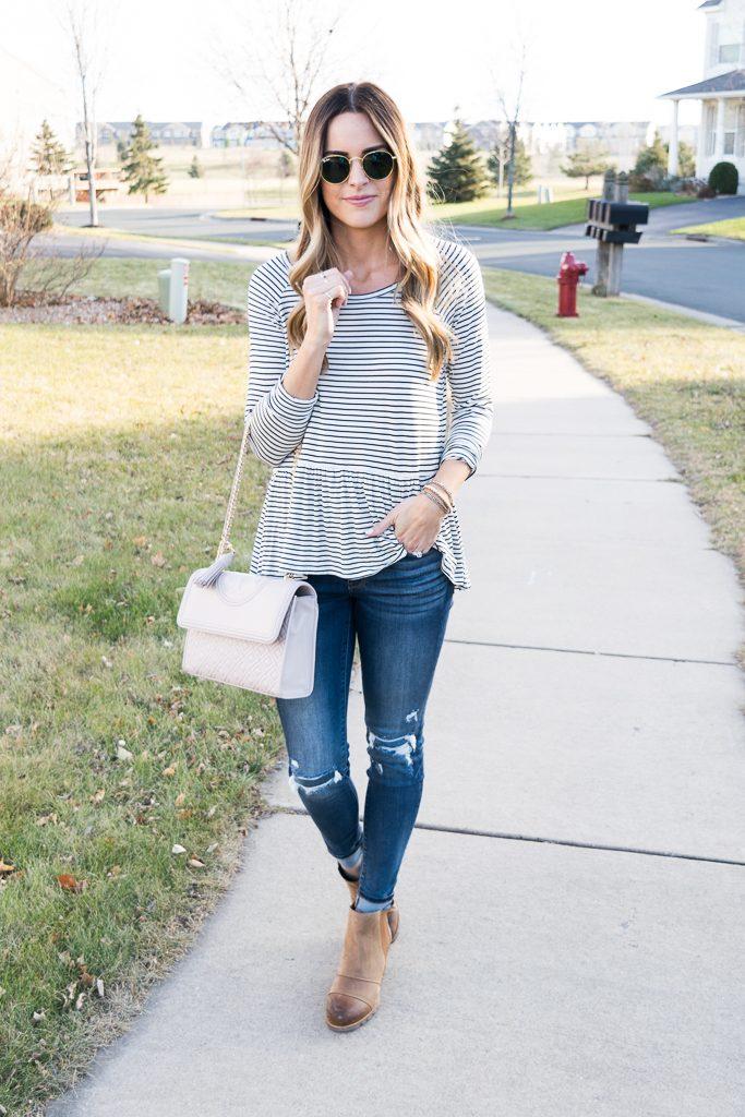 bp. stripe peplum top, fall outfit ideas, tory burch fleming bag, minneapolis blogger