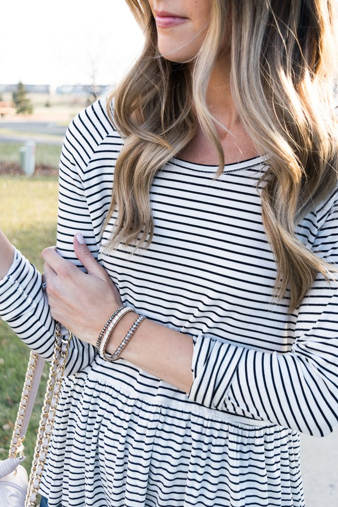 bp. stripe peplum top, fall outfit ideas, tory burch fleming bag, victoria emerson designs wrap bracelet