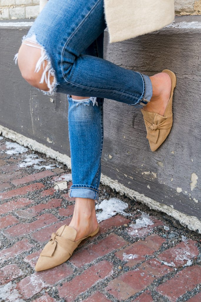 tahari pandora fawn suede, suede camel slides, Levi's 721 distressed jeans
