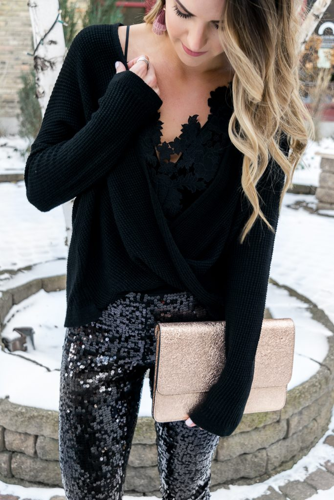 Express black sequin leggings, all black holiday look, NYE outfit, Minneapolis blogger