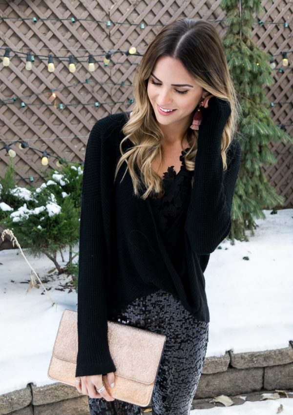All Black + Sequin Leggings Holiday Look