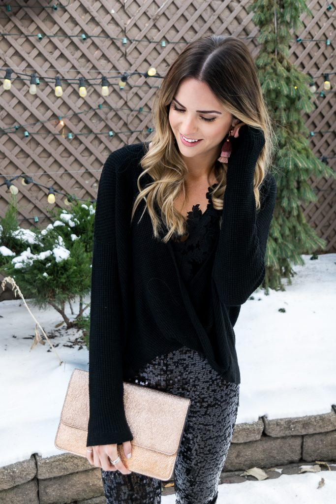 Express clutch, blush tassel earrings, all black holiday look, NYE outfit