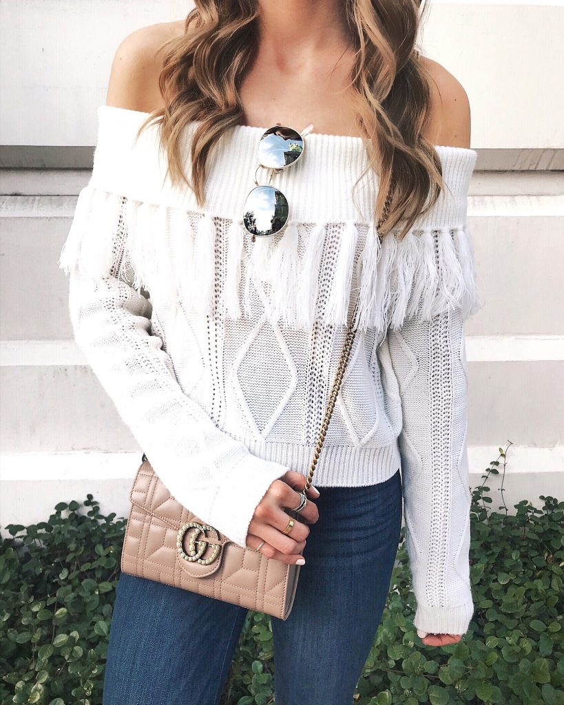 minneapolis travel blogger, what to do in vegas daytime, during the day, las vegas, blogger, endless rose fringe sweater, gucci pearl bag
