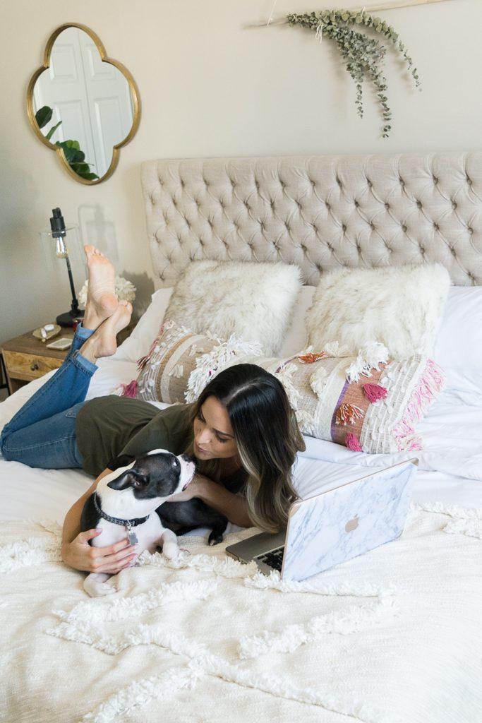 master bedroom updates, Leesa mattress review, Minneapolis blogger, boho bedroom, Jezebel adjustable fabric headboard, anthropologie open market pillow