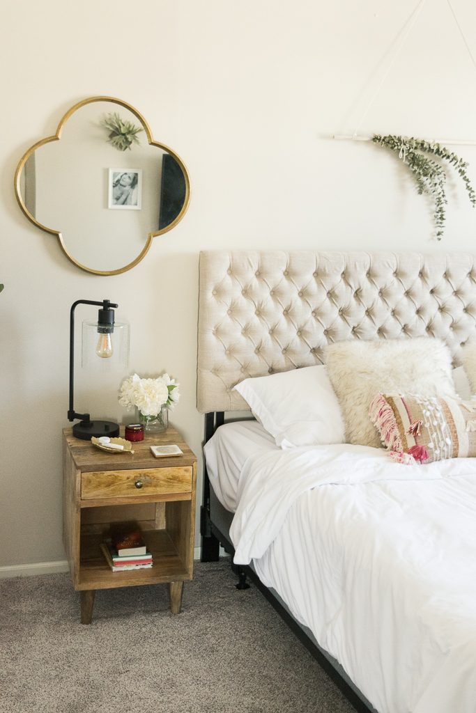 urban outfitters Amelia nightstand, jezebel tufted fabric headboard, target industrial table lamp