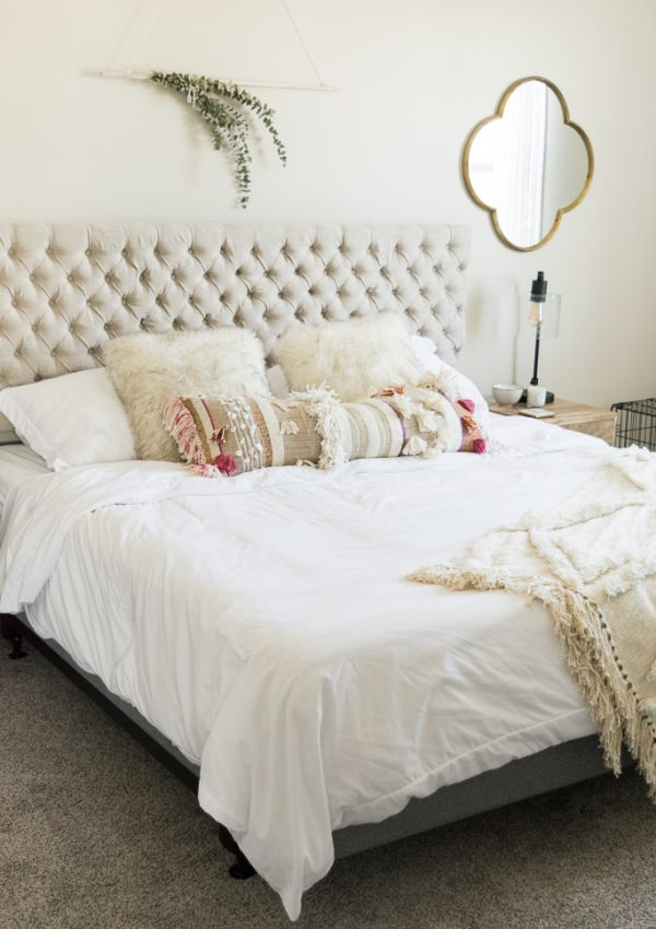 anthropologie open market pillow, jezebel fabric headboard, master bedroom updates, Leesa mattress review, Minneapolis blogger, boho bedroom