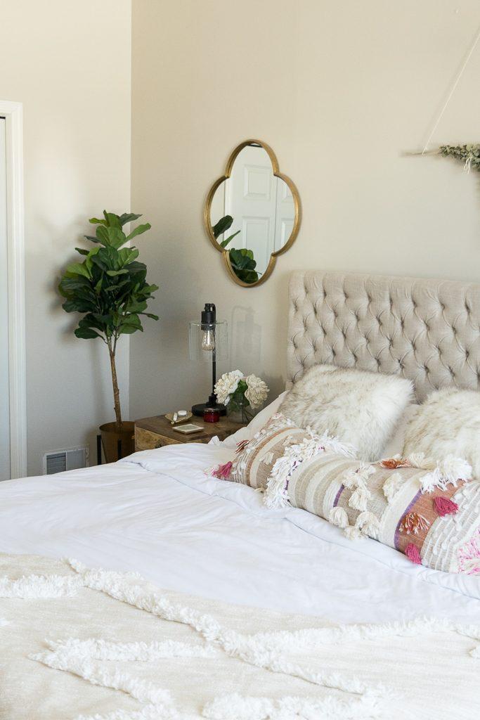 anthropologie open market pillow, jezebel fabric headboard, master bedroom updates, Leesa mattress review, Minneapolis blogger, boho bedroom