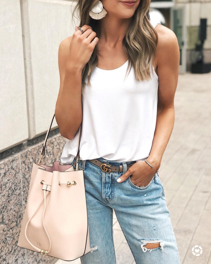 target a new day scoop neck tank, the daily edited bucket bag pale pink, pale pink gucci belt, mn fashion blogger