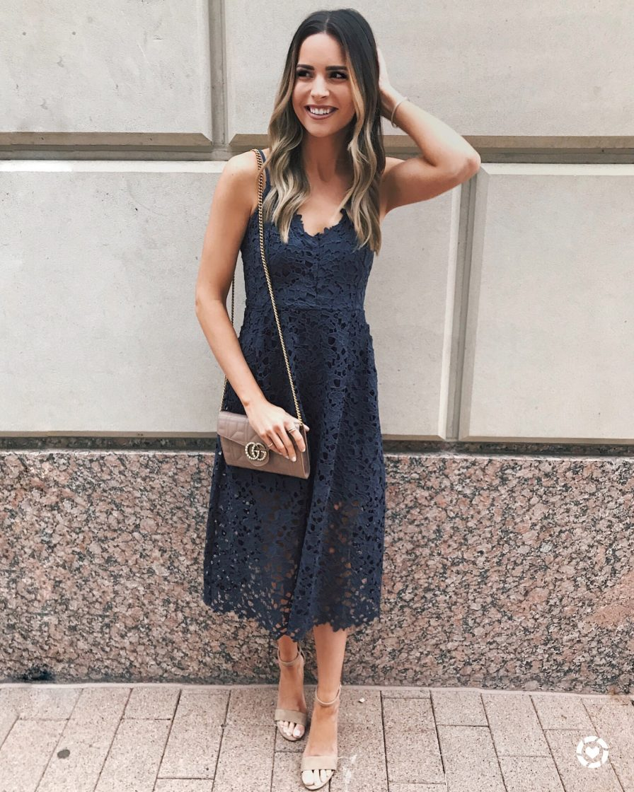 astr the label navy ink lace midi dress, rStheCon recap, rewardstyle conference 2018, what I learned, outfits