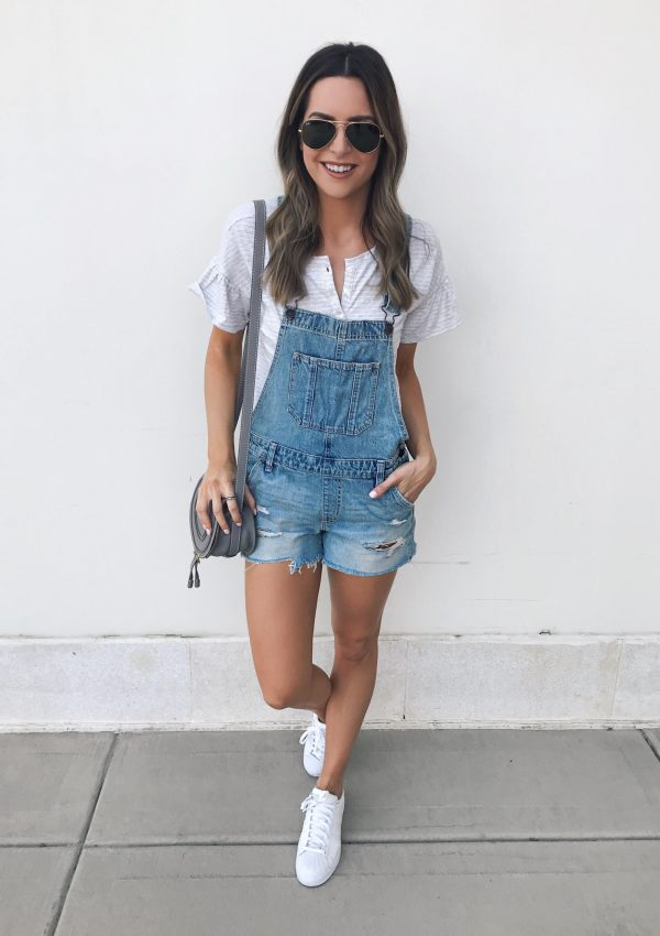 distressed shortalls, overalls outfit, chloe mini marcie cashmere grey