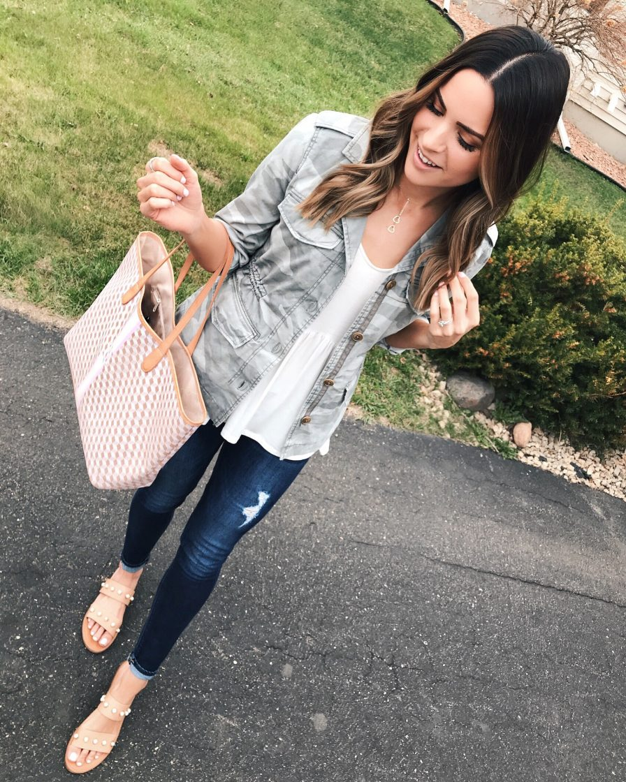 camo jacket outfit, barrington gifts st. anne tote