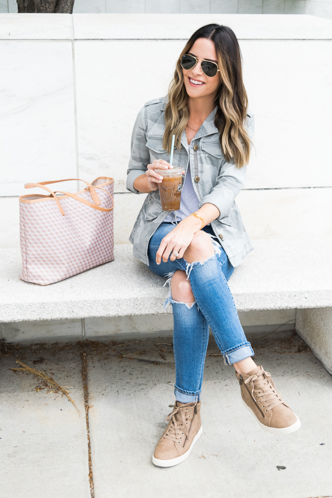 koolaburra Kayleigh high top sneakers, high-top sneakers outfit, Minneapolis blogger, camo jacket