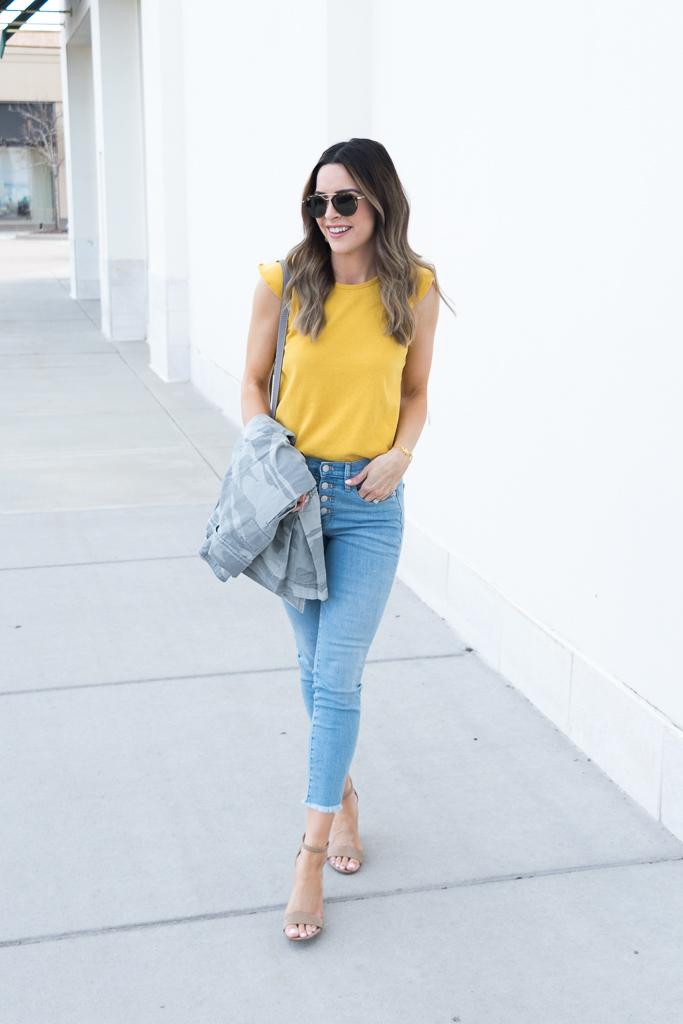 yellow gold mustard color trend 2018, madewell ruffle tank, chloe mini marcie cashmere grey