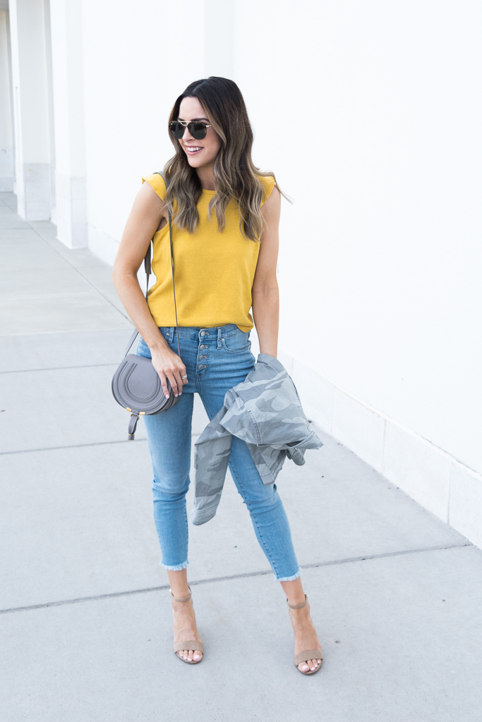 yellow gold mustard color trend 2018, madewell ruffle tank, chloe mini marcie cashmere grey, minneapolis blogger
