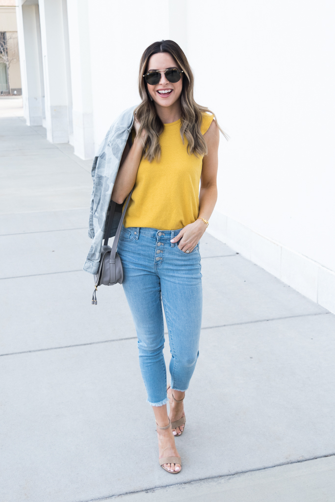 yellow gold mustard color trend 2018, madewell ruffle tank, minneapolis blogger