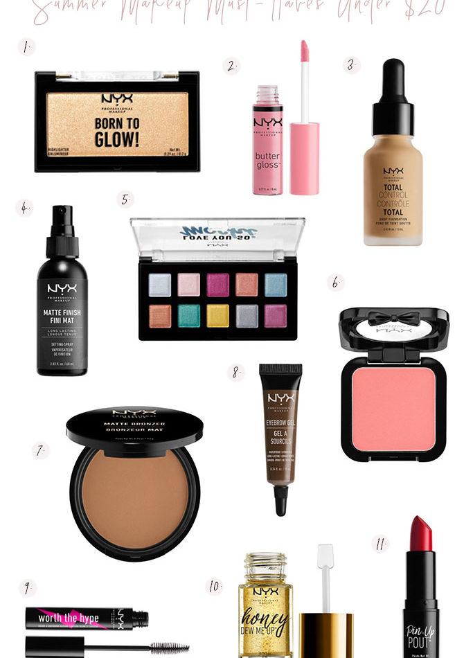 nyx walmart summer makeup must haves under $20, affordable summer makeup, drugstore holy grail